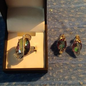 Ring & earring Mystic Topaz bundle
